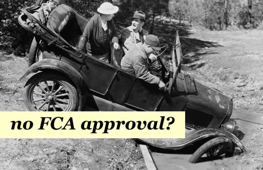 old car stuck in the mud - the Amigo Scheme doesnt yet have FCA approval