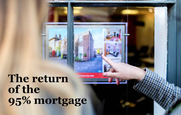 With the new governamnet guarantee, 95% mortgages will be returning in 2021 - but is one right for you? A couple looking at an estate agent's window.