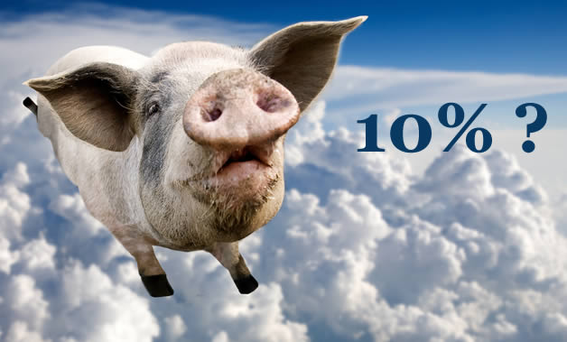 A pig flaying above the clouds - might cutomers get back 10% in Provident's Scheme? Not likely!
