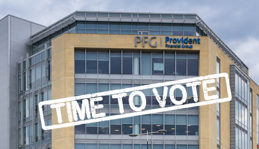 Provident Finacial's headquarters in Bradford. Customers can now vote on Provident's proposal to only pay out 10% of refunds to borrowers given unaffordable loans.