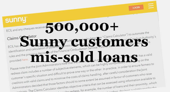 Screen shot from Sunny website - more than 500,000 customers were mis-sold payday loans by Sunny