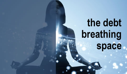 Woman sitting in yoga position, relaxed and beathing deeply - will the debt breathing space help you with a debt problem?