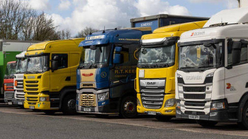 Lorries at a motorway service station