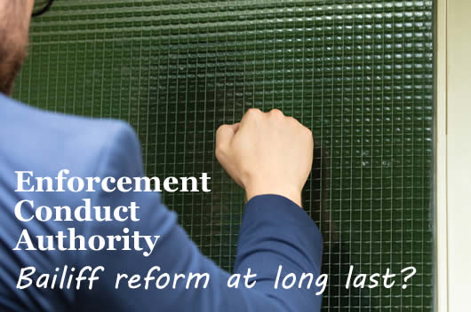 Man knocking on a door - will the proposed Enforcement Conduct Authority (ECA) bring much needed bailiff reform?